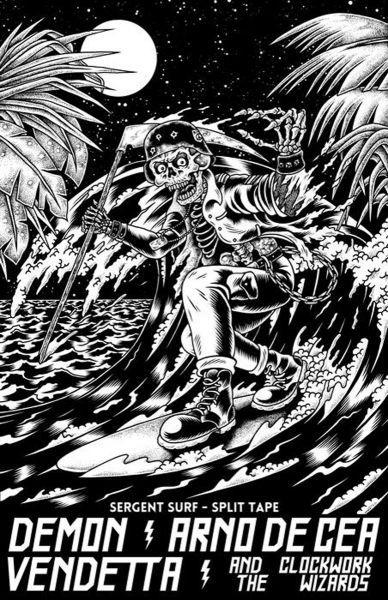 Arno de Cea & the Clockwork Wizards and Demon Vendetta - Sergent Surf Split Tape